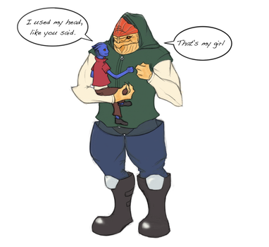 Little Aethyta and Krogan Dad by I-Anon