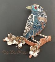 filigree blue bird pendant by thebluekraken