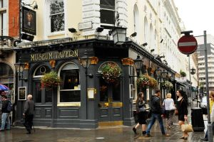 London pub in the rain 1 by wildplaces