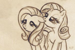 Fluttershy and Rarity sketch by KP-ShadowSquirrel