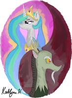 Celestia and Discord Painting by Lordius-Biscuit