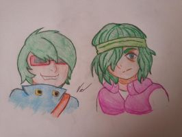 Green Haired trouble makers by victoriavaporeon