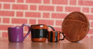 1/12th scale polymer clay mugs by ElreniaGreenleaf