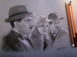 Poirot, Miss Lemon, and Japp by auggie101