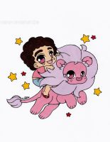 Steven and Lion Colored by Maiko-Girl