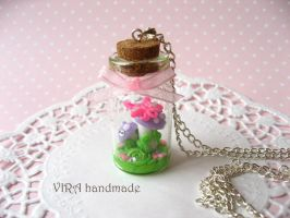 Mushrooms with butterfly necklace by virahandmade
