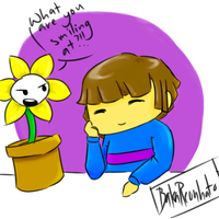 Frisk and Flowey by BakaReonhato