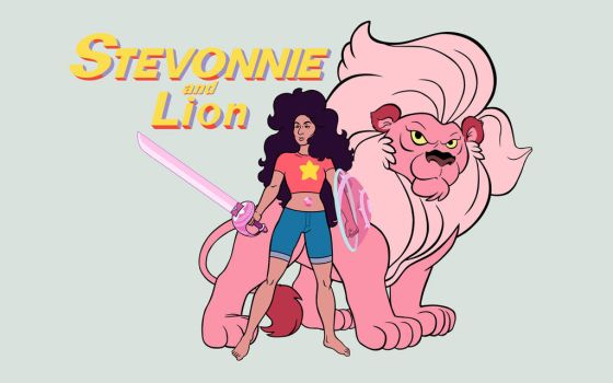 Stevonnie and Lion by GeovaneMonteiro