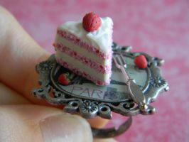 Strawberry Cake Slice Ring W/ Mini Strawberries by ThePetiteShop