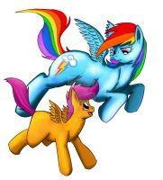 Rainbow Dash and Scootaloo by Exelzior-Maximus