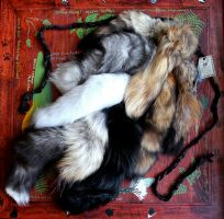 Nine-tailed Fox, Coyote and Tanuki Tail Set by lupagreenwolf