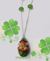 Necklace Leprechaun in his cauldron of gold by Elfetta2007