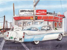 1956 DeSoto Fireflite At The White Mana Diner by FastLaneIllustration