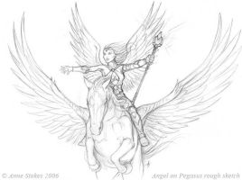 Angel and Pegasus sketch by Ironshod