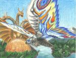 Mothra and King Ghidorah by pink12301
