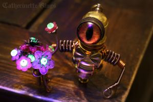 Steampunk Robot with Uranium Flowers and Bowtie! by CatherinetteRings