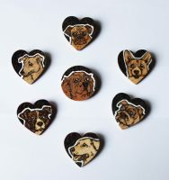 Pyrography Dog Brooches by BumbleBeeFairy