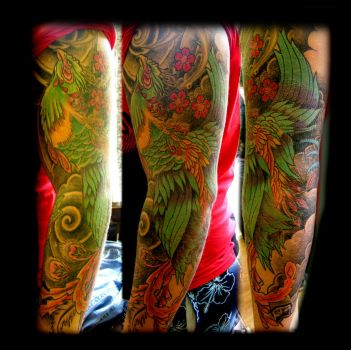 Phoenix sleeve by WildThingsTattoo