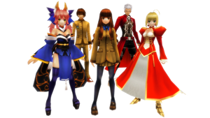 MMD Fate/Extra playable Protagonist and Servants by ChocoKobato