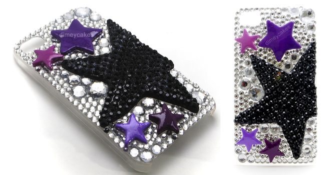 Purple Stars Decoden iPhone Case by dimeycakes