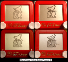 Black Mage Etchasketch process by pikajane