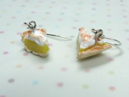 Miniature Food Lemon Meringue Pie Slice Earrings by kawaiibuddies