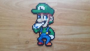 Smug Face Luigi (perler beads) by ericgant