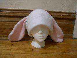 White and baby pink Bunny hat by kittyhats