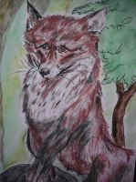 Sad Fox (added Background) by CpointSpoint