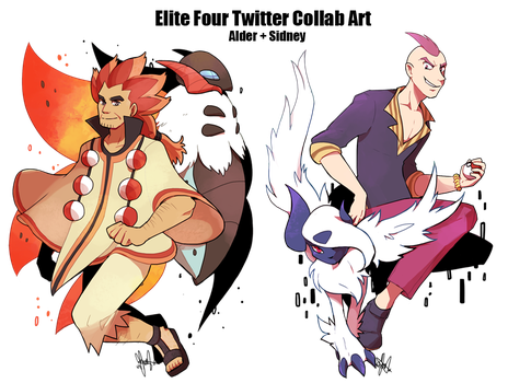 Pokemon: Elite Four Alder + Sidney by ky-nim