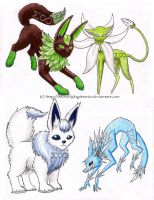 Leafeon and Glaceon Concepts by MenollySagittaria