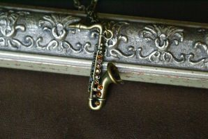 Saxophone Necklace by MonsterBrandCrafts