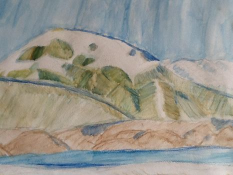 Seaside mountains, watercolor pencils by Riverwyte