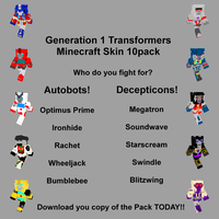 Generation 1 Transformers Minecraft Skin 10Pack by Narric-SB0
