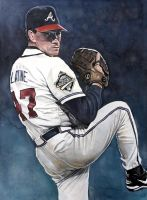 Tom Glavine Watercolor by MichaelPattison