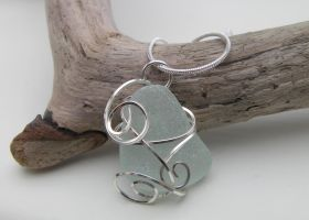 Sea Mist- Wire Wrapped Scottish Sea Glass Pendant by cunningcatcrafts