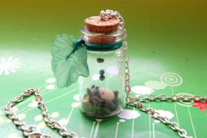 Totoro handmade necklace with bottled miniature by SimonaZ