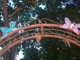 Blue and Pink Wire Butterflies by cheyxlove
