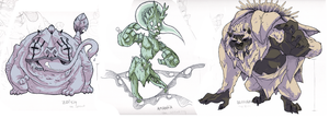 SF00 concept monsters by FauxBoy