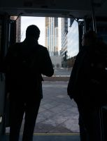 Through the Bus Doors 5 by bowtiephotography