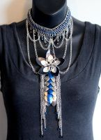 Blue, Black, and Silver Falling Star Necklace by SerenFey