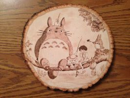 Totoro on Branch Wood Burning Version 2 by jspinazzola