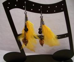 Yellow Feather Earrings by Meeshah
