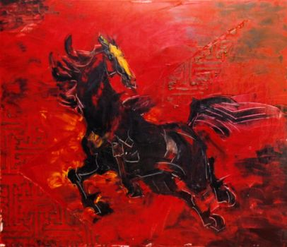 Horse on Red by HiepHD