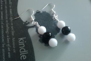 White and Black Bead Earings by thepapercraftcouple