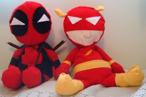 Deadpool and Flash plushies by Catt021