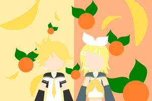 Kagamine Rin Len Wallpaper by demonreapergirl