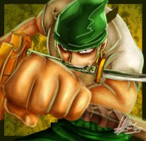 1 hours speed painting Roronoa Zoro One Piece by nerrochan
