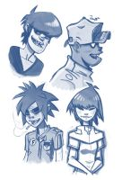 Gorillaz head shots by RyanJampole