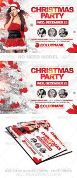 Christmas Party Horizontal Flyer Template PSD by AudioNeptune